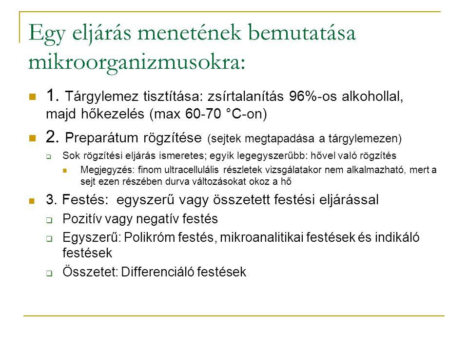 Festési eljárások Láthatóbbá tehetőek velük a minták Fluoreszcens festékek:  Immunfestés  Zöld fluoreszcens fehérje pH alapján (mikroorganizmusok festéséhez):  Bázikus színezőanyagok (metilénkék, fukszin, malahitzöld, kristályibolya, neutrálvörös)  Savas színezőanyagok (eozin)  Semleges színezőanyagok (rhodamin B)