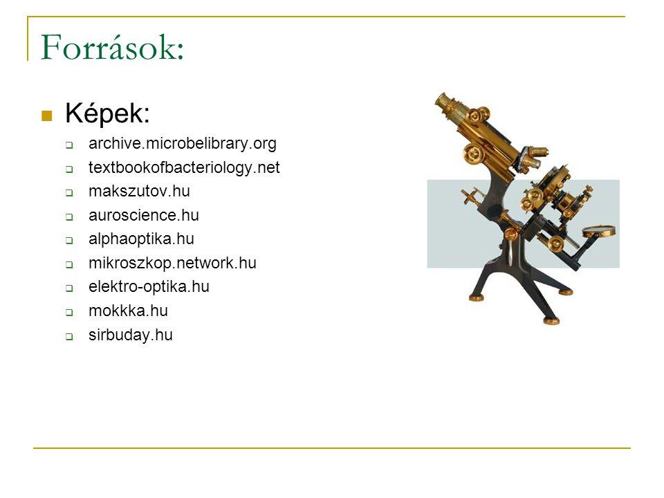 Források: Képek:  archive.microbelibrary.org  textbookofbacteriology.net  makszutov.hu  auroscience.hu  alphaoptika.hu  mikroszkop.network.hu 