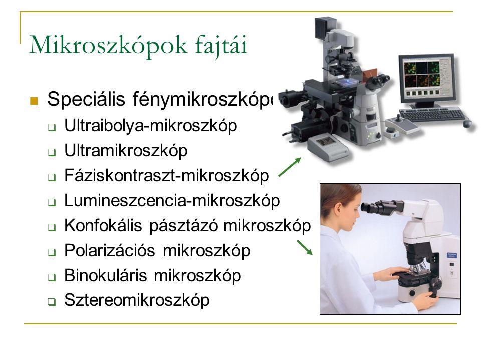 Mikroszkópok fajtái Speciális fénymikroszkópok:  Ultraibolya-mikroszkóp  Ultramikroszkóp  Fáziskontraszt-mikroszkóp  Lumineszcencia-mikroszkóp  K