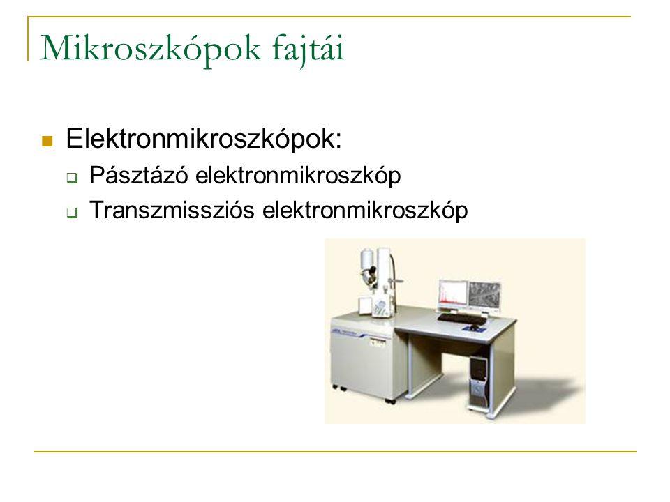 Mikroszkópok fajtái Elektronmikroszkópok:  Pásztázó elektronmikroszkóp  Transzmissziós elektronmikroszkóp