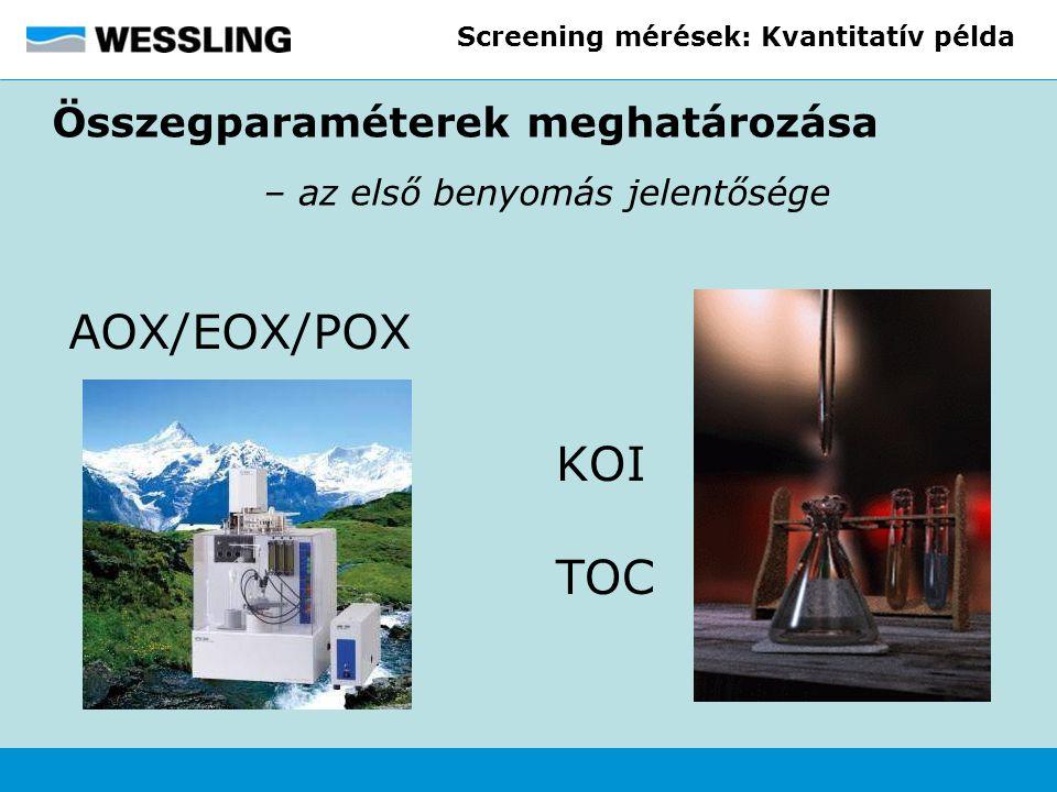 Screening mérések: Kvantitatív példa Összegparaméterek meghatározása – az első benyomás jelentősége KOI TOC AOX/EOX/POX