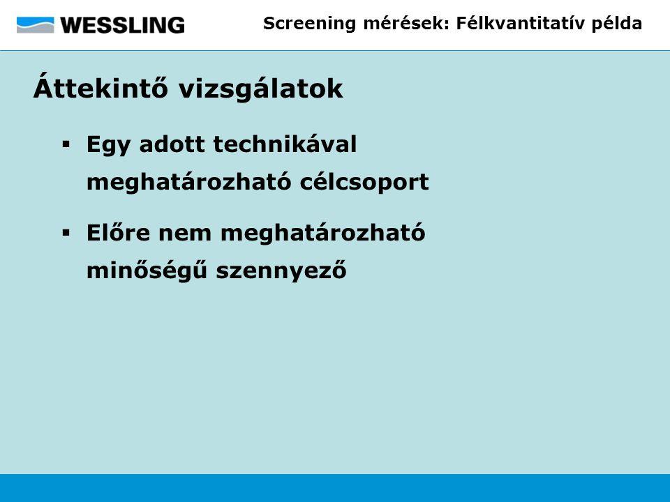 Screening mérések: Félkvantitatív példa Áttekintő vizsgálatok  Egy adott technikával meghatározható célcsoport  Előre nem meghatározható minőségű sz