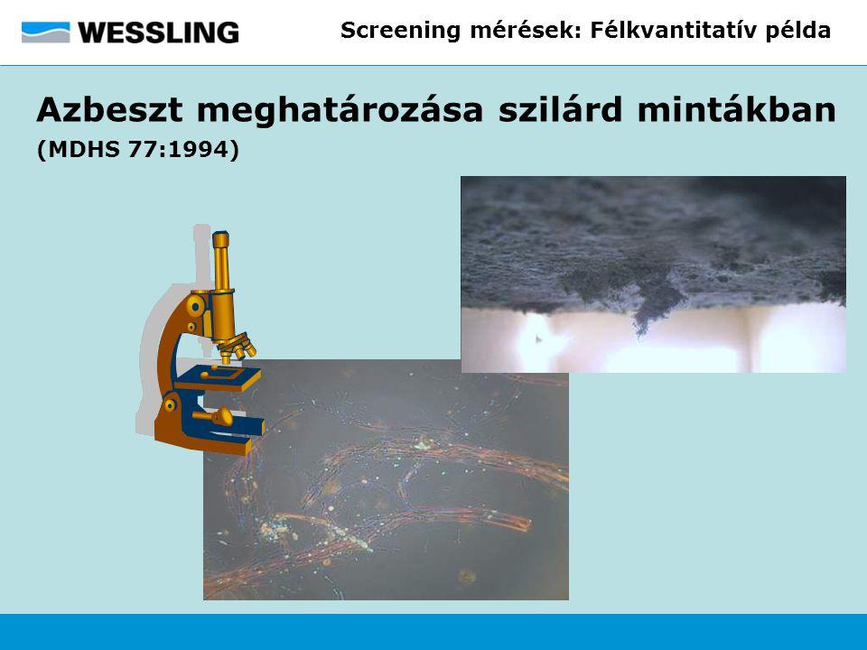 Screening mérések: Félkvantitatív példa Azbeszt meghatározása szilárd mintákban (MDHS 77:1994)