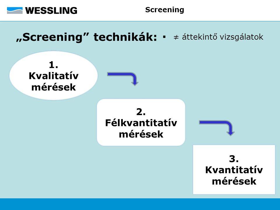 """Screening """"Screening"""" technikák:  ≠ áttekintő vizsgálatok 3. Kvantitatív mérések 2. Félkvantitatív mérések 1. Kvalitatív mérések"""