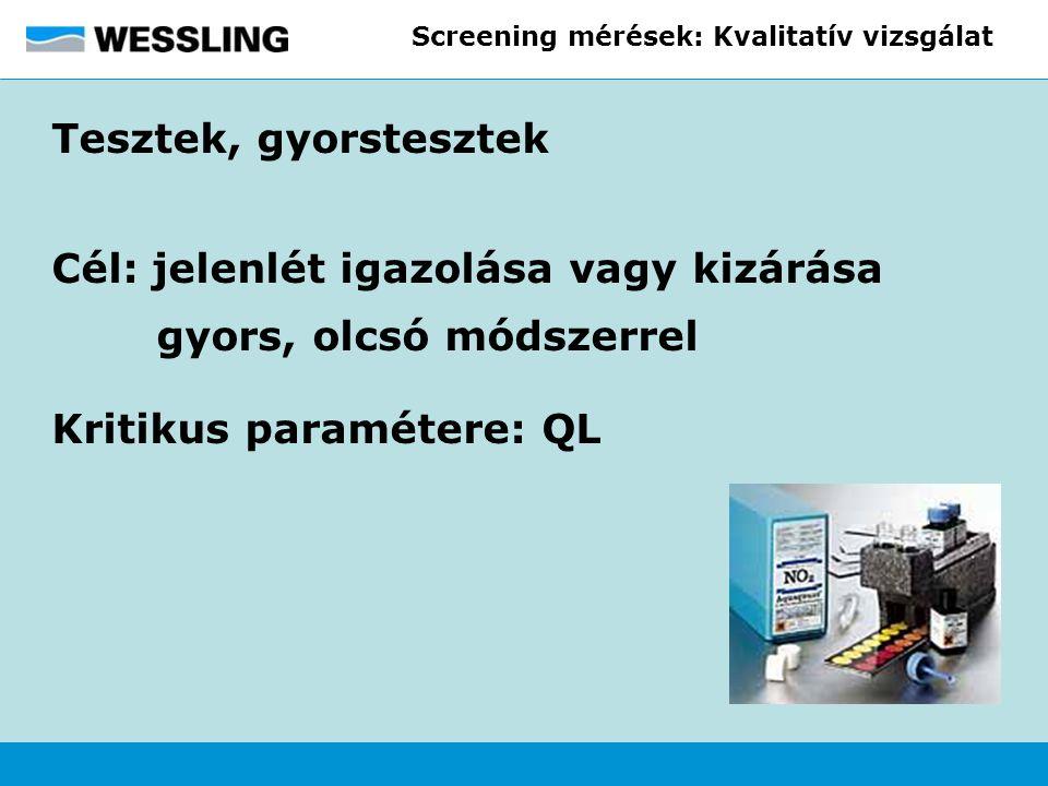 Screening mérések: Kvalitatív vizsgálat Tesztek, gyorstesztek Cél: jelenlét igazolása vagy kizárása gyors, olcsó módszerrel Kritikus paramétere: QL