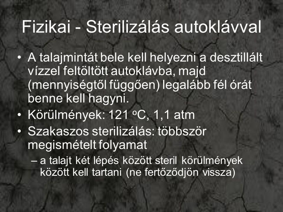 Fizikai - Sterilizálás autoklávval A talajmintát bele kell helyezni a desztillált vízzel feltöltött autoklávba, majd (mennyiségtől függően) legalább f