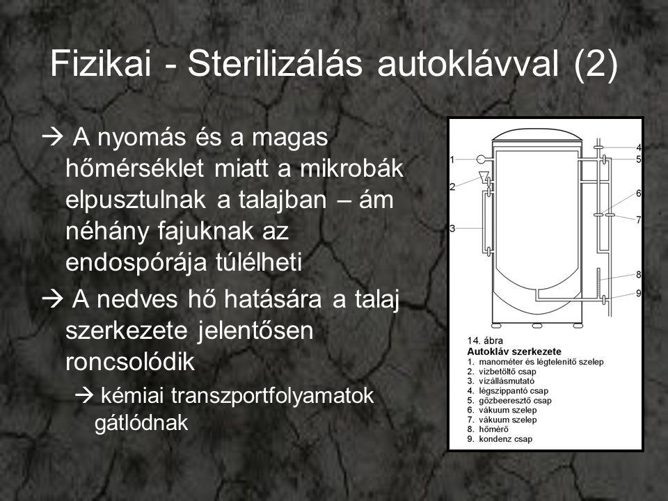 Fizikai - Sterilizálás autoklávval (2)  A nyomás és a magas hőmérséklet miatt a mikrobák elpusztulnak a talajban – ám néhány fajuknak az endospórája