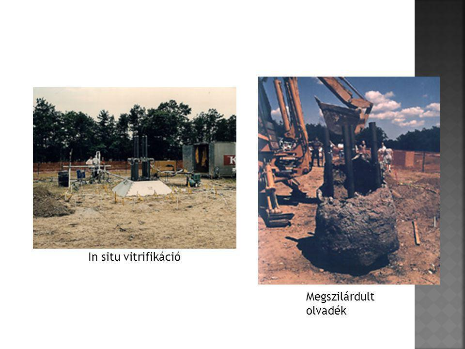 - Erősségek: - Erősségek: alkalmazható mind ex situ mind in situ megoldásként - Gyengeségek: - Gyengeségek: a magas talajvíz szint és a magas olvadáspontú talajalkotók jelenléte gátolja az üvegesdési folyamat lejátszódását, drága talajremediációs technológia, a felszabaduló gázokat kezelni kell - Lehetőségek: - Lehetőségek: a keletkezett szilárd olvadék felhasználható kerámiatermékek, tetőfedő cserép és kültéri burkolólapok valamint gyöngykavics-szerű kerámiaanyag készítésére - Veszélyek: - Veszélyek: az eljárás során esetlegesen felszabaduló mérgező gázok, a keletkezett szilárd olvadék magas toxikus fém vagy radioaktív anyag tartalma