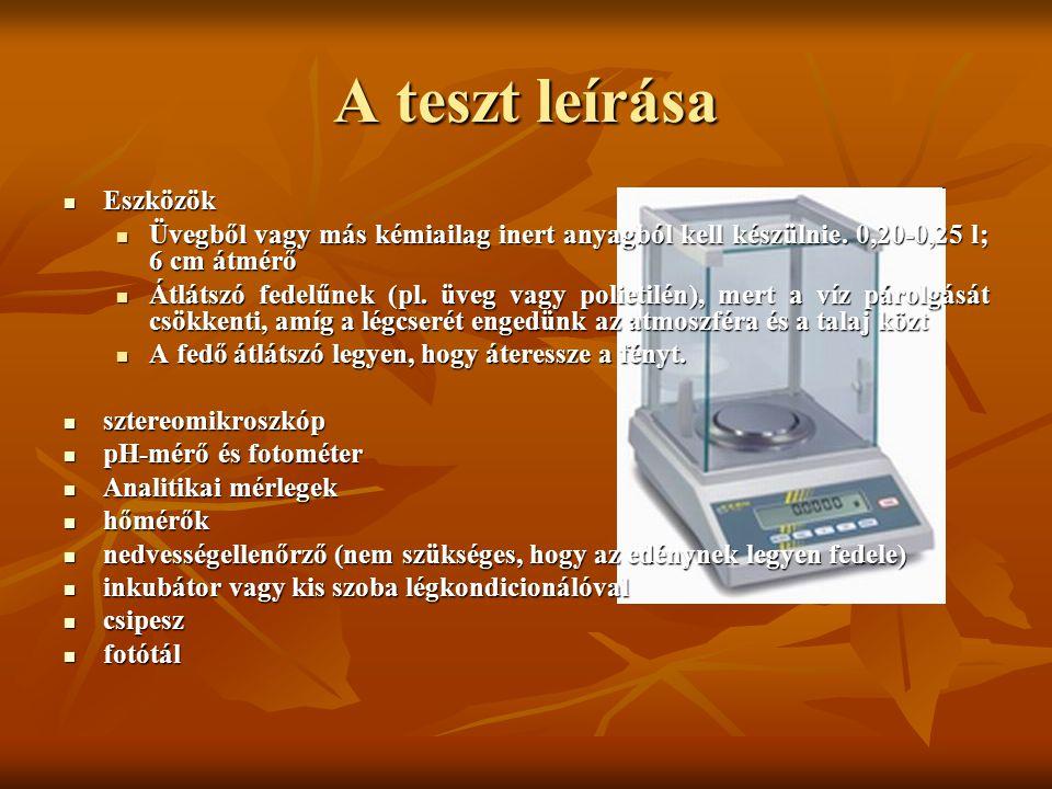A teszt leírása Eszközök Eszközök Üvegből vagy más kémiailag inert anyagból kell készülnie. 0,20-0,25 l; 6 cm átmérő Üvegből vagy más kémiailag inert