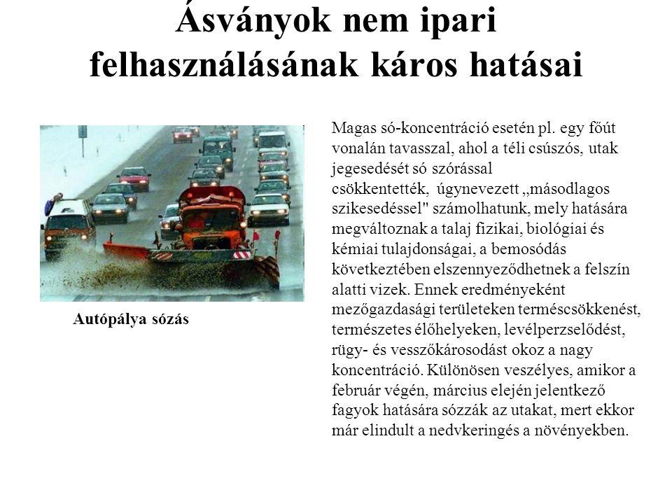 Ásványok nem ipari felhasználásának káros hatásai Autópálya sózás Magas só-koncentráció esetén pl.
