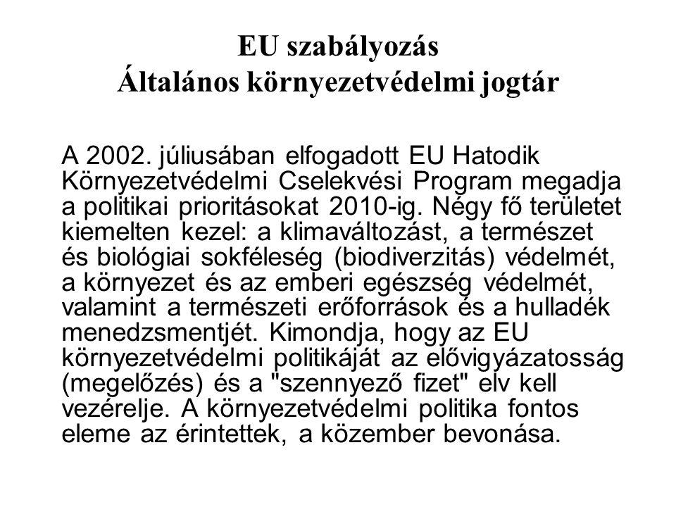 EU szabályozás Általános környezetvédelmi jogtár A 2002. júliusában elfogadott EU Hatodik Környezetvédelmi Cselekvési Program megadja a politikai prio