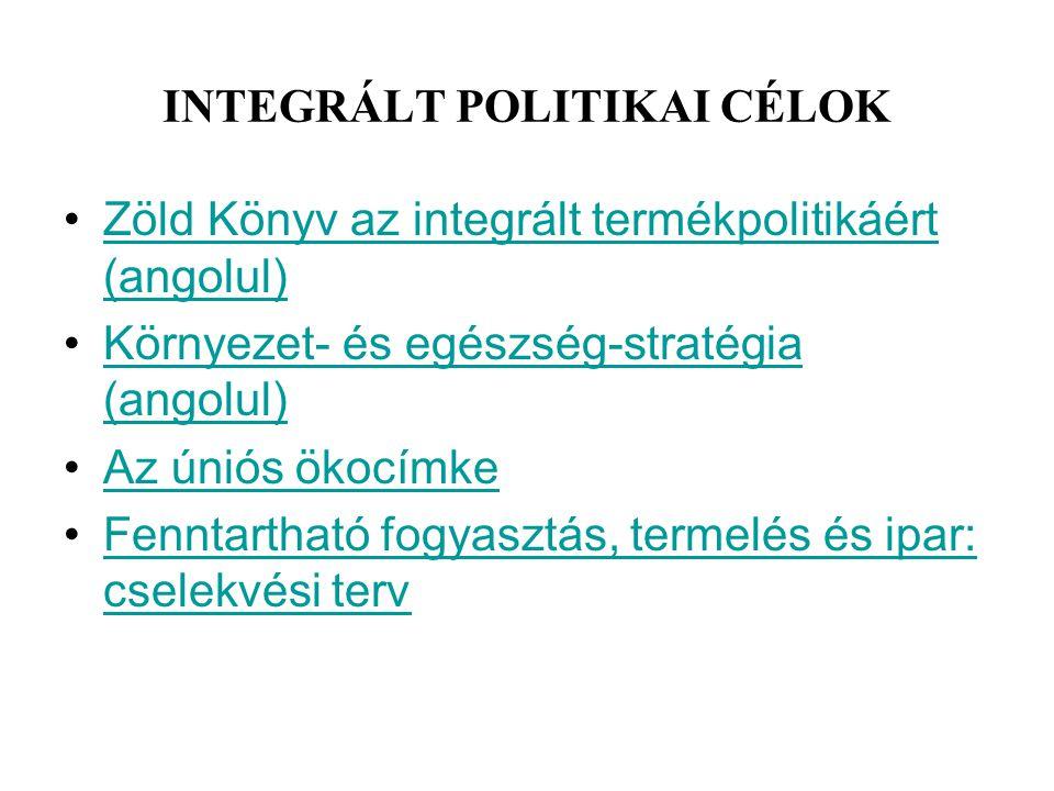 INTEGRÁLT POLITIKAI CÉLOK Zöld Könyv az integrált termékpolitikáért (angolul)Zöld Könyv az integrált termékpolitikáért (angolul) Környezet- és egészsé