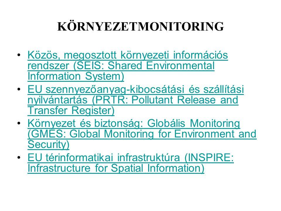 KÖRNYEZETMONITORING Közös, megosztott környezeti információs rendszer (SEIS: Shared Environmental Information System)Közös, megosztott környezeti info