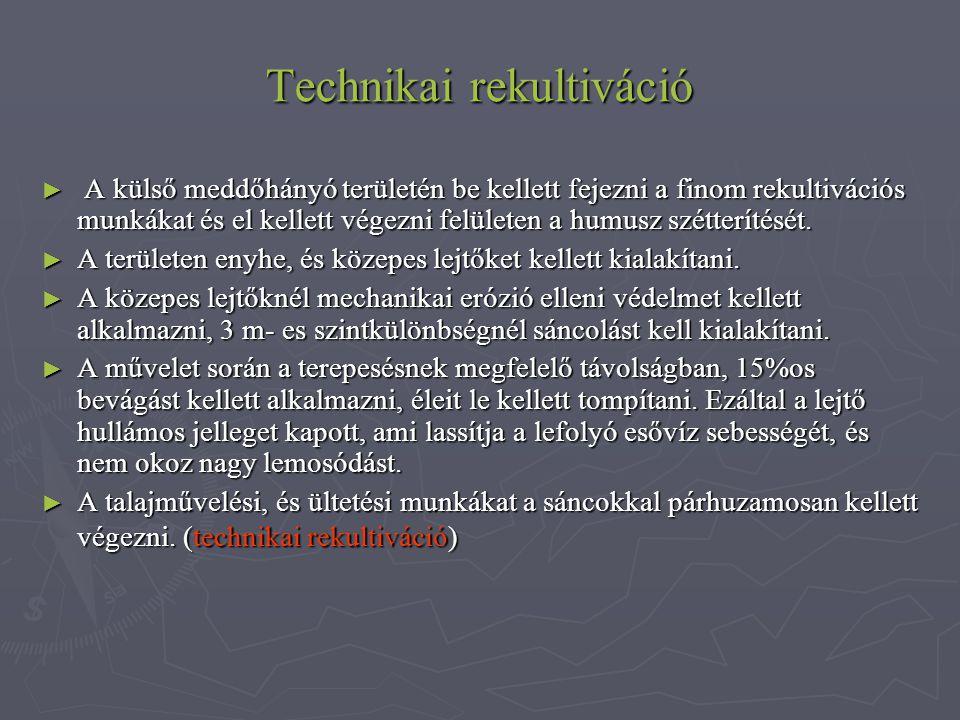 Technikai rekultiváció ► A külső meddőhányó területén be kellett fejezni a finom rekultivációs munkákat és el kellett végezni felületen a humusz szétterítését.