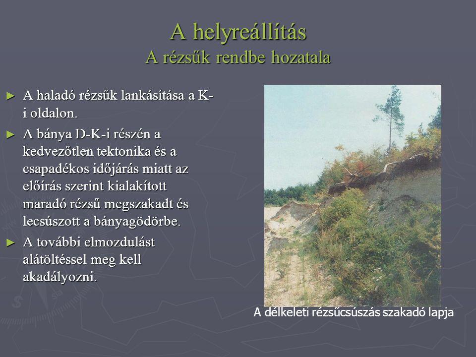 A helyreállítás A rézsűk rendbe hozatala ► A haladó rézsűk lankásítása a K- i oldalon. ► A bánya D-K-i részén a kedvezőtlen tektonika és a csapadékos