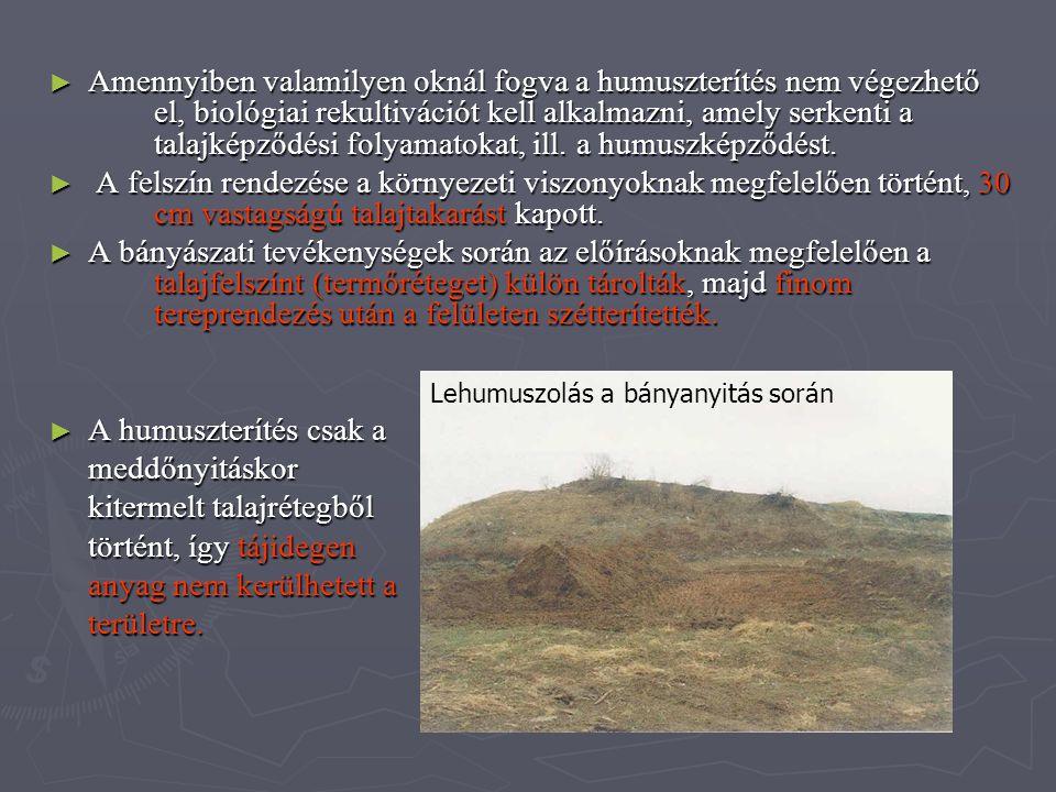 ► Amennyiben valamilyen oknál fogva a humuszterítés nem végezhető el, biológiai rekultivációt kell alkalmazni, amely serkenti a talajképződési folyama