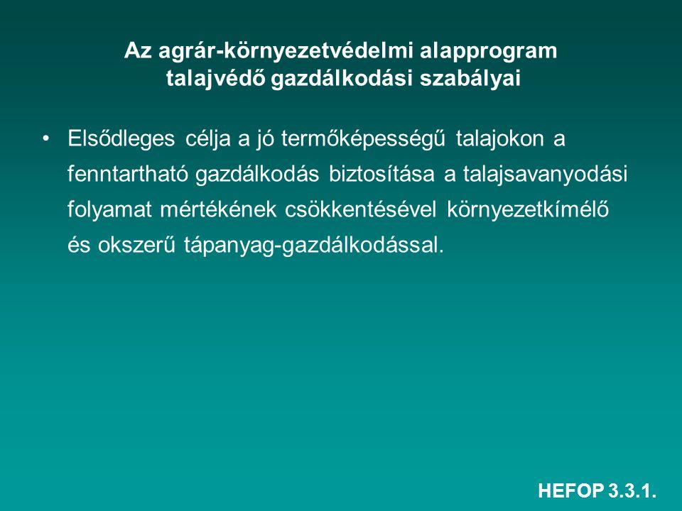 HEFOP 3.3.1. Az agrár-környezetvédelmi alapprogram talajvédő gazdálkodási szabályai Elsődleges célja a jó termőképességű talajokon a fenntartható gazd