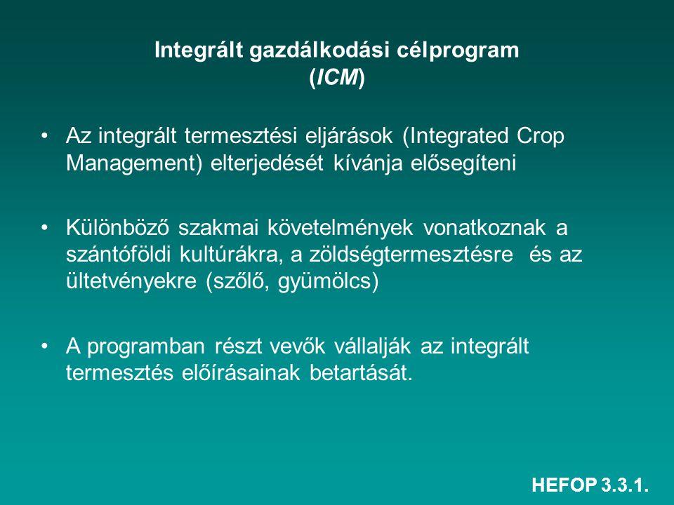 HEFOP 3.3.1. Integrált gazdálkodási célprogram (ICM) Az integrált termesztési eljárások (Integrated Crop Management) elterjedését kívánja elősegíteni