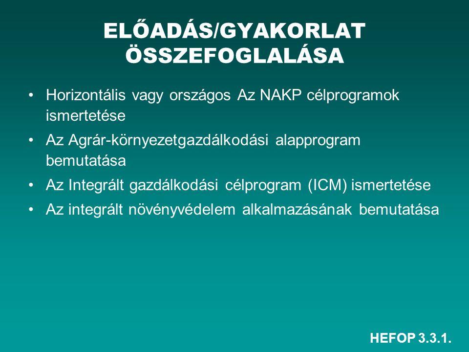 HEFOP 3.3.1. ELŐADÁS/GYAKORLAT ÖSSZEFOGLALÁSA Horizontális vagy országos Az NAKP célprogramok ismertetése Az Agrár-környezetgazdálkodási alapprogram b
