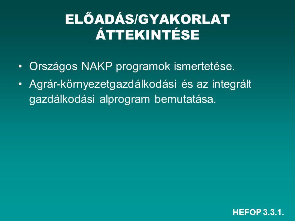 HEFOP 3.3.1. Országos NAKP programok ismertetése. Agrár-környezetgazdálkodási és az integrált gazdálkodási alprogram bemutatása. ELŐADÁS/GYAKORLAT ÁTT