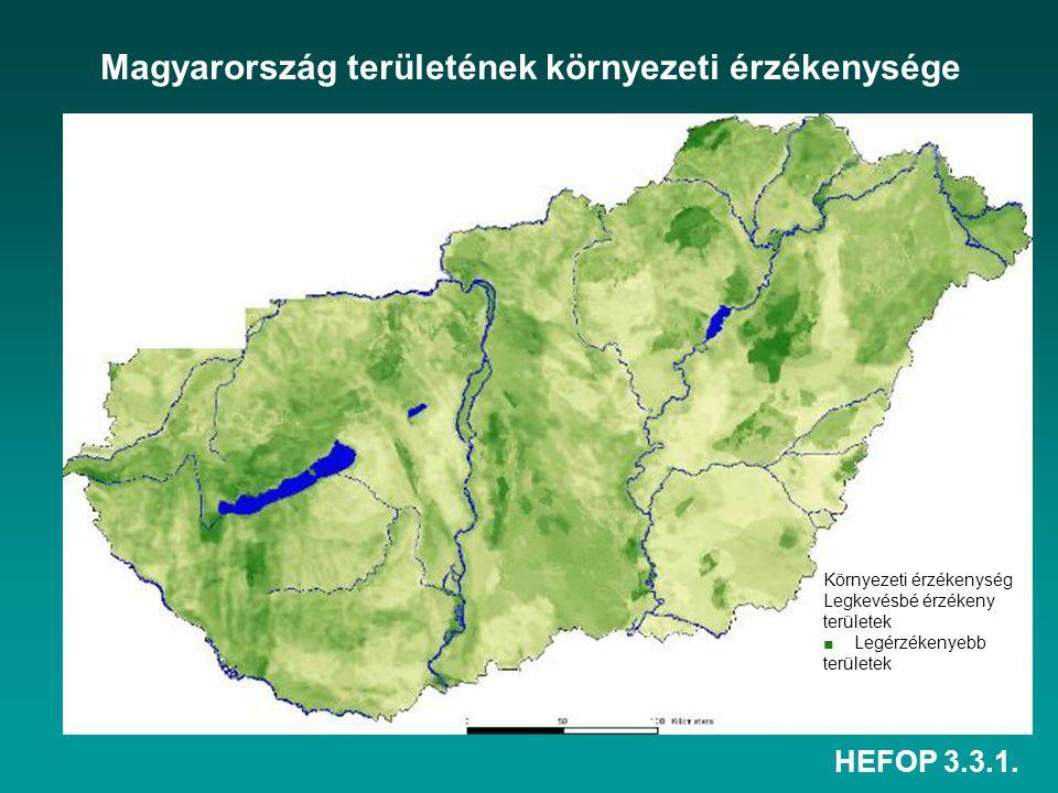 HEFOP 3.3.1. Magyarország területének környezeti érzékenysége Környezeti érzékenység Legkevésbé érzékeny területek ■ Legérzékenyebb területek