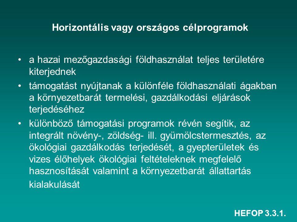 HEFOP 3.3.1. Horizontális vagy országos célprogramok a hazai mezőgazdasági földhasználat teljes területére kiterjednek támogatást nyújtanak a különfél