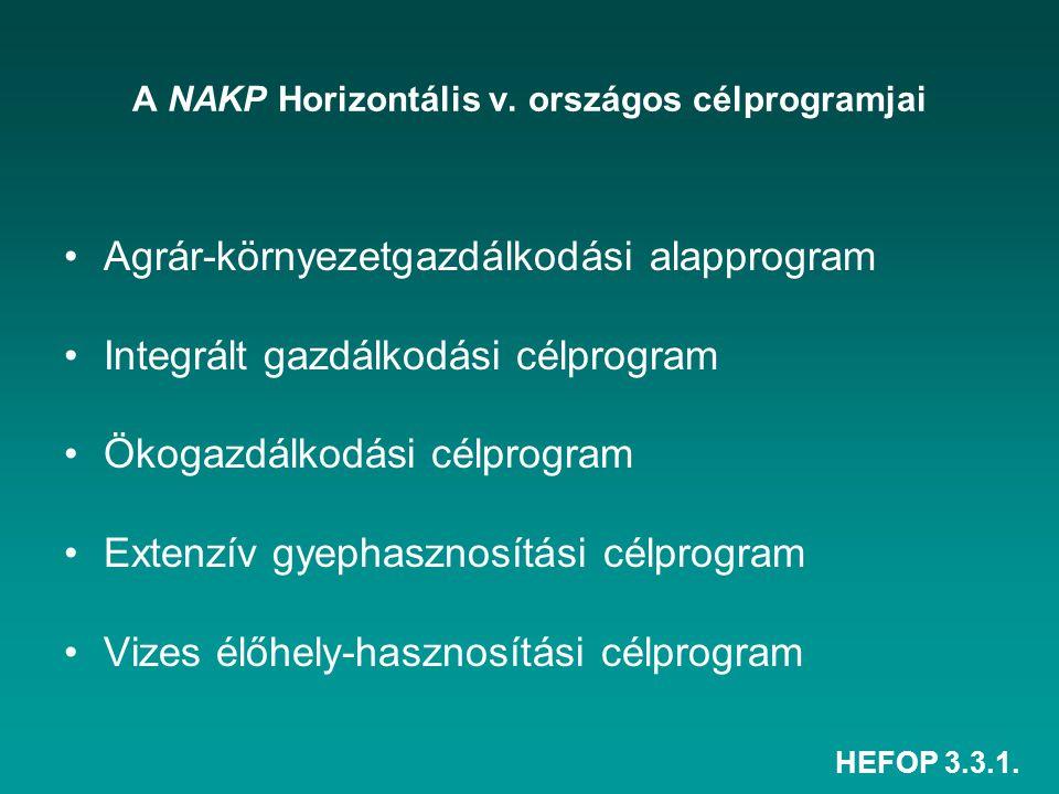 HEFOP 3.3.1. A NAKP Horizontális v. országos célprogramjai Agrár-környezetgazdálkodási alapprogram Integrált gazdálkodási célprogram Ökogazdálkodási c