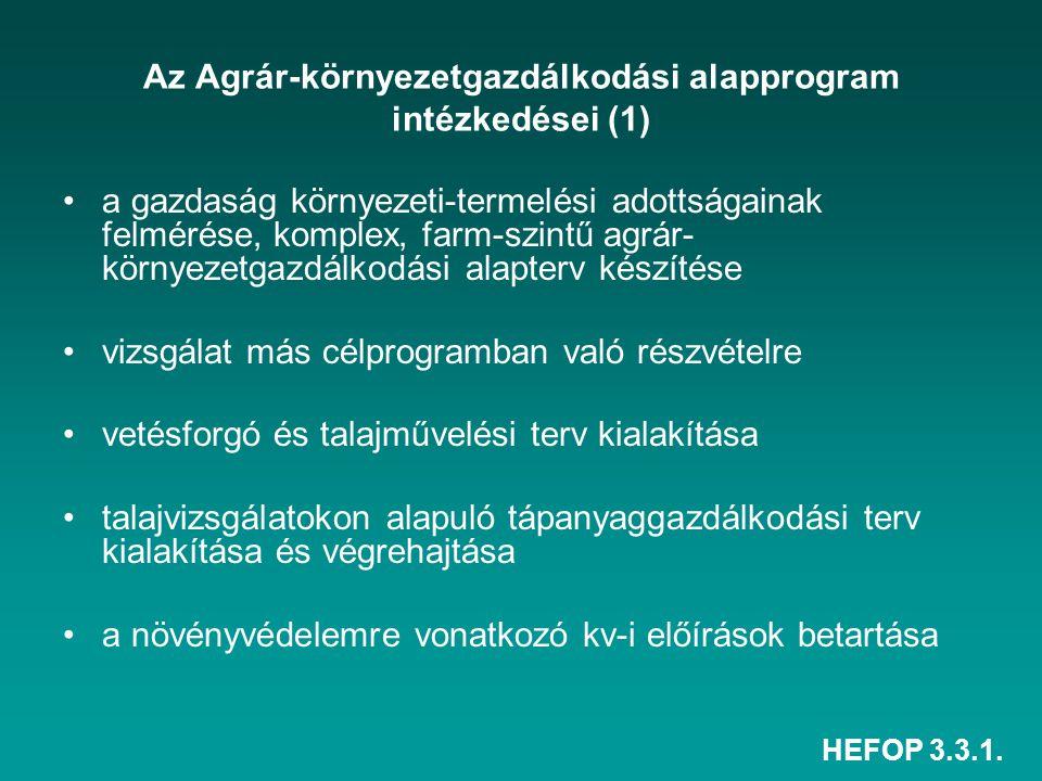 HEFOP 3.3.1. Az Agrár-környezetgazdálkodási alapprogram intézkedései (1) a gazdaság környezeti-termelési adottságainak felmérése, komplex, farm-szintű