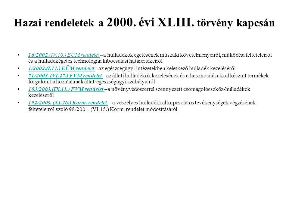 Hazai rendeletek a 2000. évi XLIII. törvény kapcsán 16/2002.(IV.10.) EÜM rendelet –a hulladékok égetésének műszaki követelményeiről, működési feltétel
