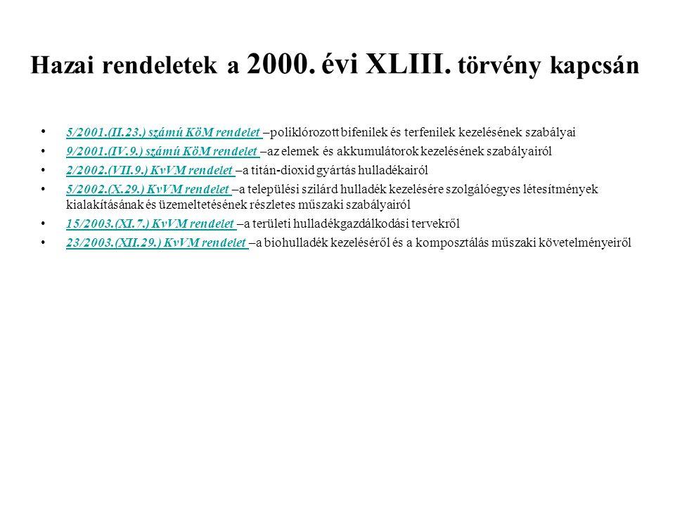 Hazai rendeletek a 2000. évi XLIII. törvény kapcsán 5/2001.(II.23.) számú KöM rendelet –poliklórozott bifenilek és terfenilek kezelésének szabályai 5/