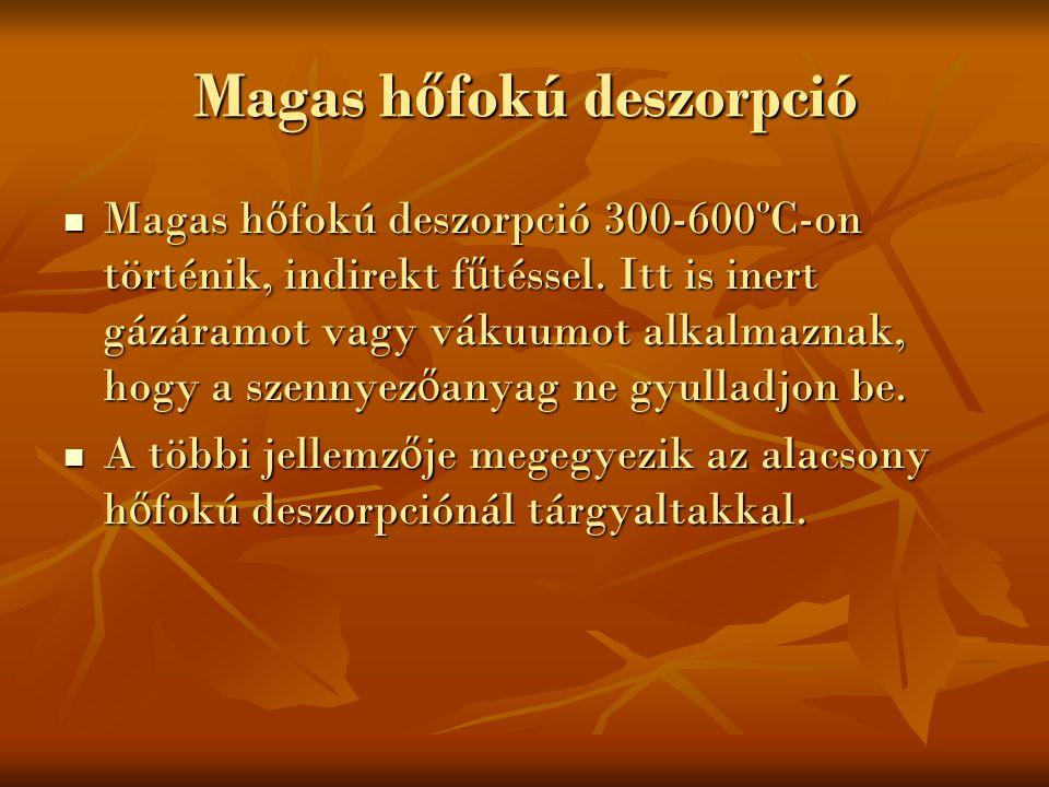 Magas h ő fokú deszorpció Magas h ő fokú deszorpció 300-600ºC-on történik, indirekt f ű téssel. Itt is inert gázáramot vagy vákuumot alkalmaznak, hogy