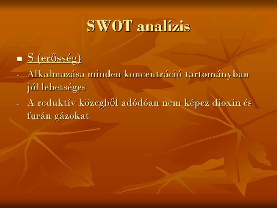 SWOT analízis S (er ő sség) S (er ő sség) - Alkalmazása minden koncentráció tartományban jól lehetséges - A reduktív közegb ő l adódóan nem képez diox