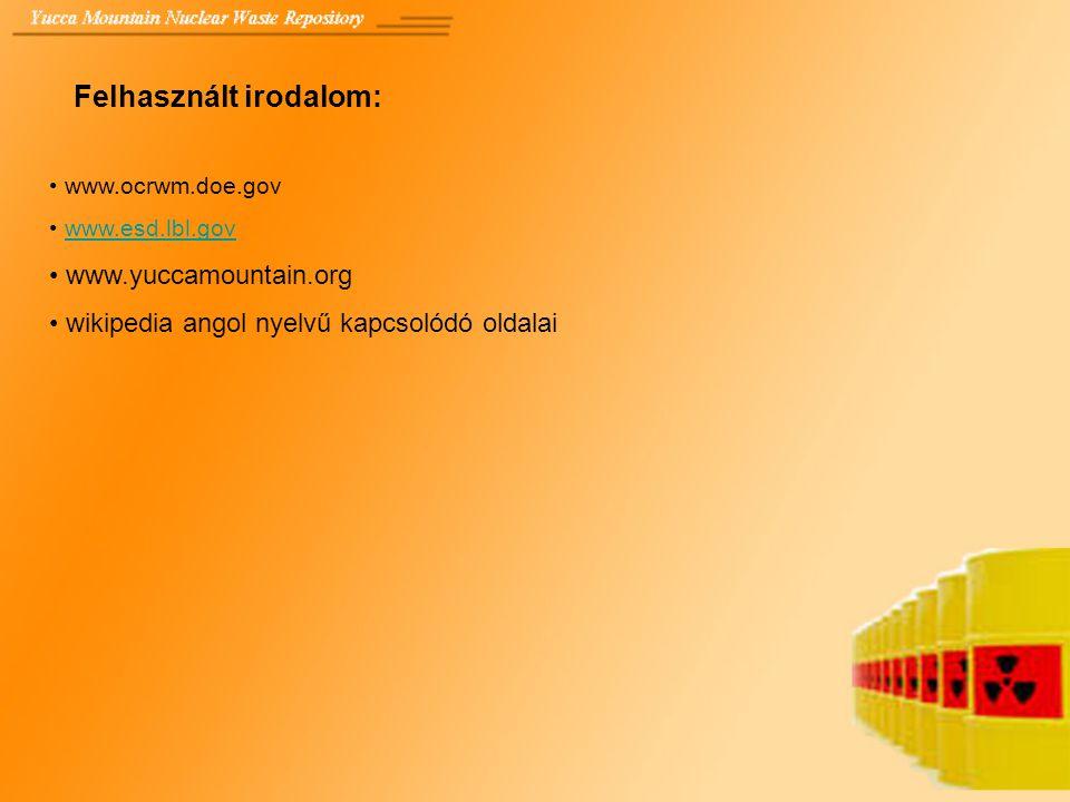 Felhasznált irodalom: www.ocrwm.doe.gov www.esd.lbl.gov www.yuccamountain.org wikipedia angol nyelvű kapcsolódó oldalai
