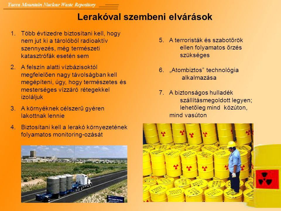 Lerakóval szembeni elvárások 1.Több évtizedre biztosítani kell, hogy nem jut ki a tárolóból radioaktív szennyezés, még természeti katasztrófák esetén