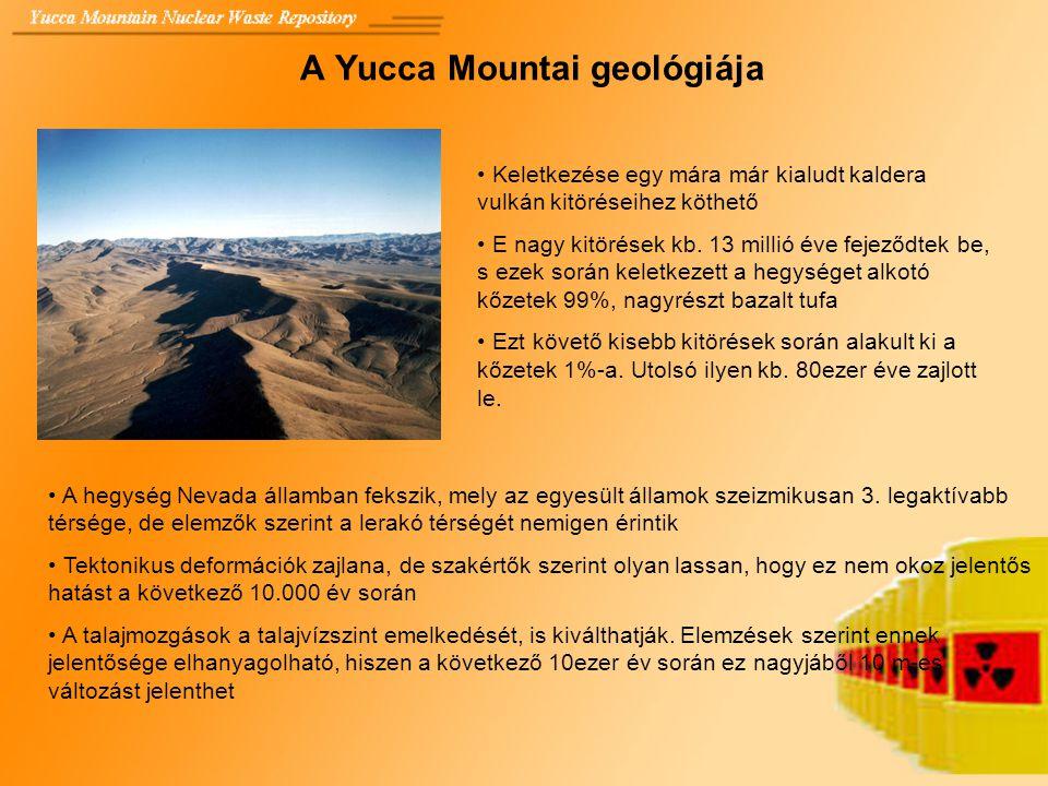 A Yucca Mountai geológiája Keletkezése egy mára már kialudt kaldera vulkán kitöréseihez köthető E nagy kitörések kb. 13 millió éve fejeződtek be, s ez