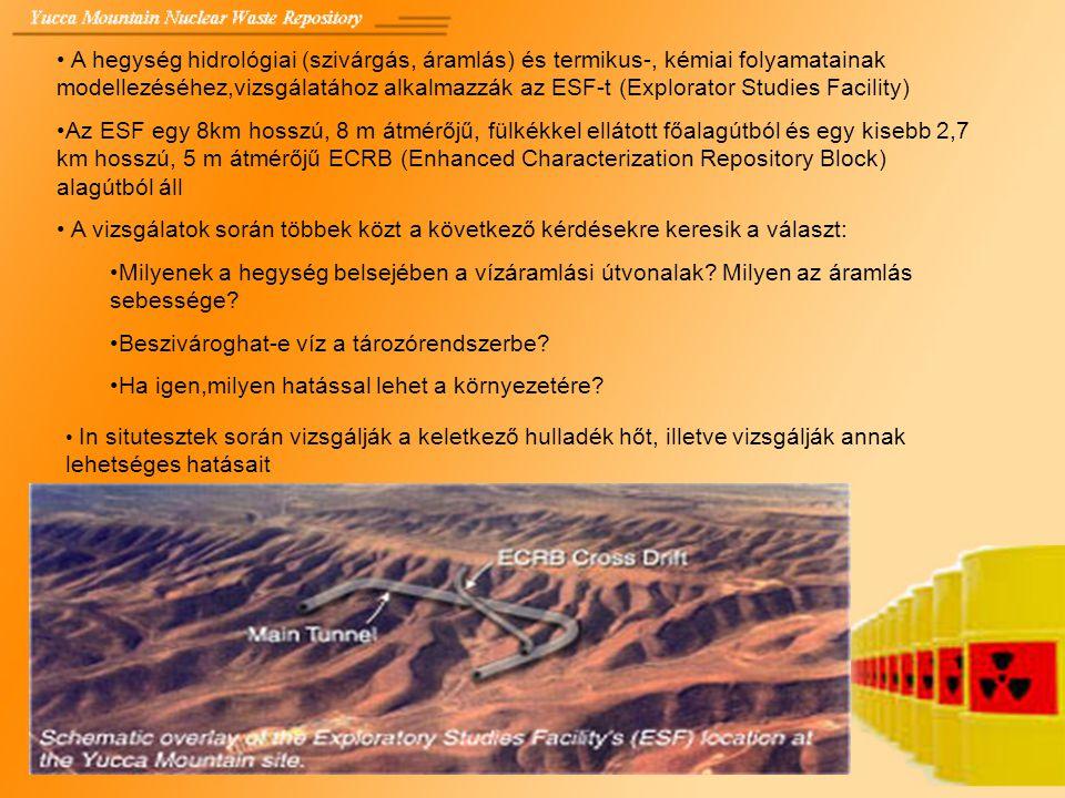 A hegység hidrológiai (szivárgás, áramlás) és termikus-, kémiai folyamatainak modellezéséhez,vizsgálatához alkalmazzák az ESF-t (Explorator Studies Fa