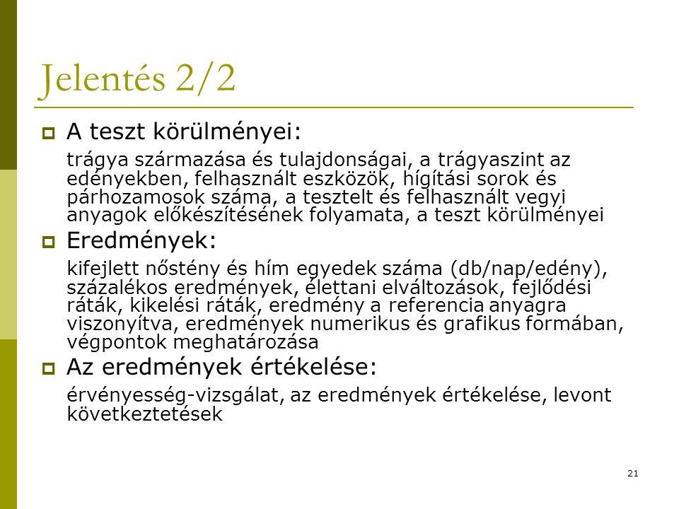 21 Jelentés 2/2  A teszt körülményei: trágya származása és tulajdonságai, a trágyaszint az edényekben, felhasznált eszközök, hígítási sorok és párhoz