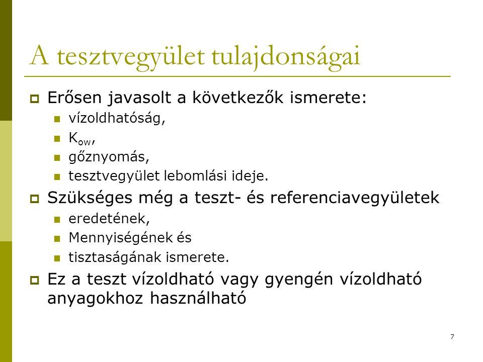18 A teszt típusa  Hatásos koncentrációtartomány keresése (angolul: Range Finding Test): Ismeretlen toxicitású vegyi anyag esetén Koncentrációk: 0,1; 1; 10; 100 és 1000 mg/kg (trágya száraz tömege) Kontroll és szerves oldószer esetén oldószeres kontroll minta  Határteszt (angolul: Limit vagy Definitive Test): Ha NOEC nagyobb az 1000 mg/kg-nál Jellemzően 1000 mg/kg koncentrációban 8 vegyi anyaggal (plusz 8 kontroll, referencia oldószeres kontroll) OECD 54-es dokumetum alapján