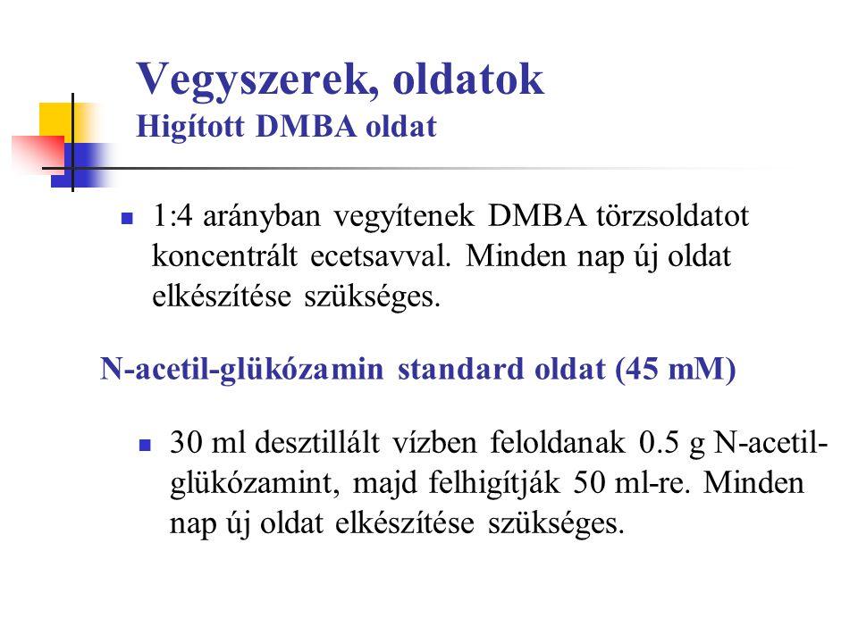 Vegyszerek, oldatok Higított DMBA oldat 1:4 arányban vegyítenek DMBA törzsoldatot koncentrált ecetsavval. Minden nap új oldat elkészítése szükséges. N