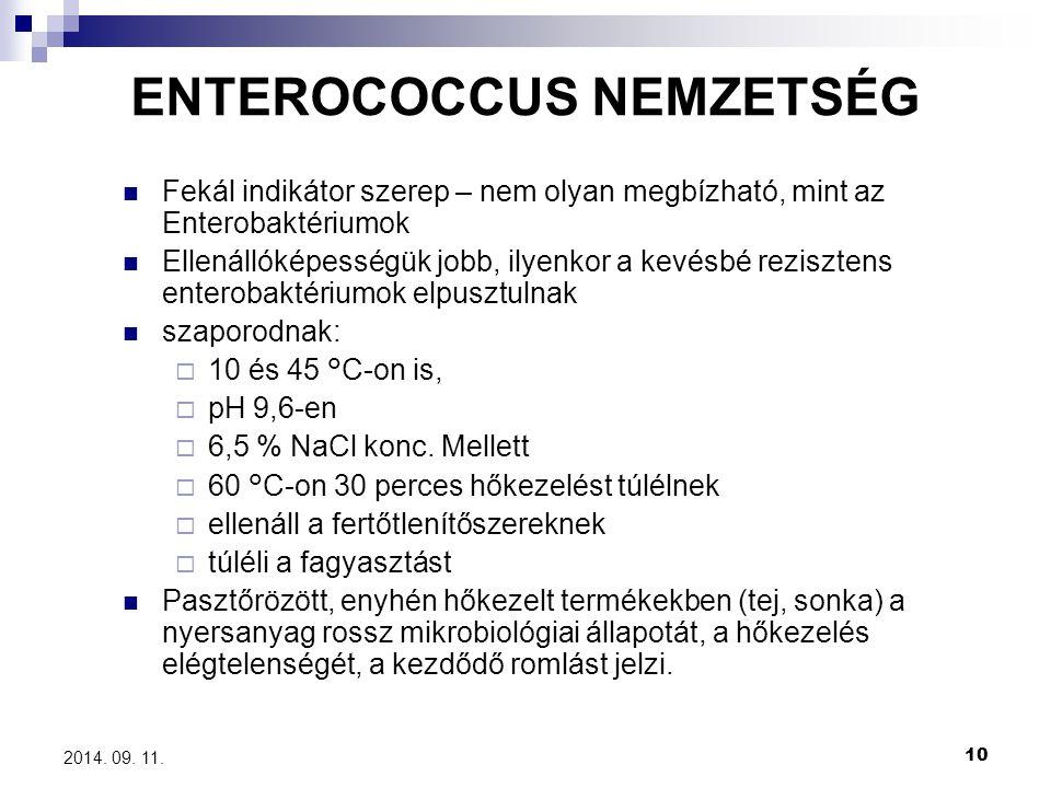 10 2014. 09. 11. Fekál indikátor szerep – nem olyan megbízható, mint az Enterobaktériumok Ellenállóképességük jobb, ilyenkor a kevésbé rezisztens ente