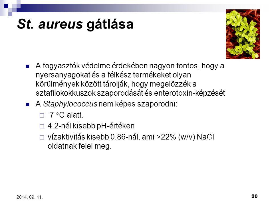 20 2014. 09. 11. St. aureus gátlása A fogyaszt ó k v é delme é rdek é ben nagyon fontos, hogy a nyersanyagokat é s a f é lk é sz term é keket olyan k