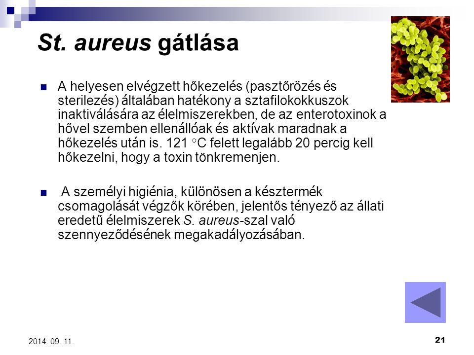 21 2014. 09. 11. St. aureus gátlása A helyesen elv é gzett hőkezel é s (pasztőr ö z é s é s sterilez é s) á ltal á ban hat é kony a sztafilokokkuszok