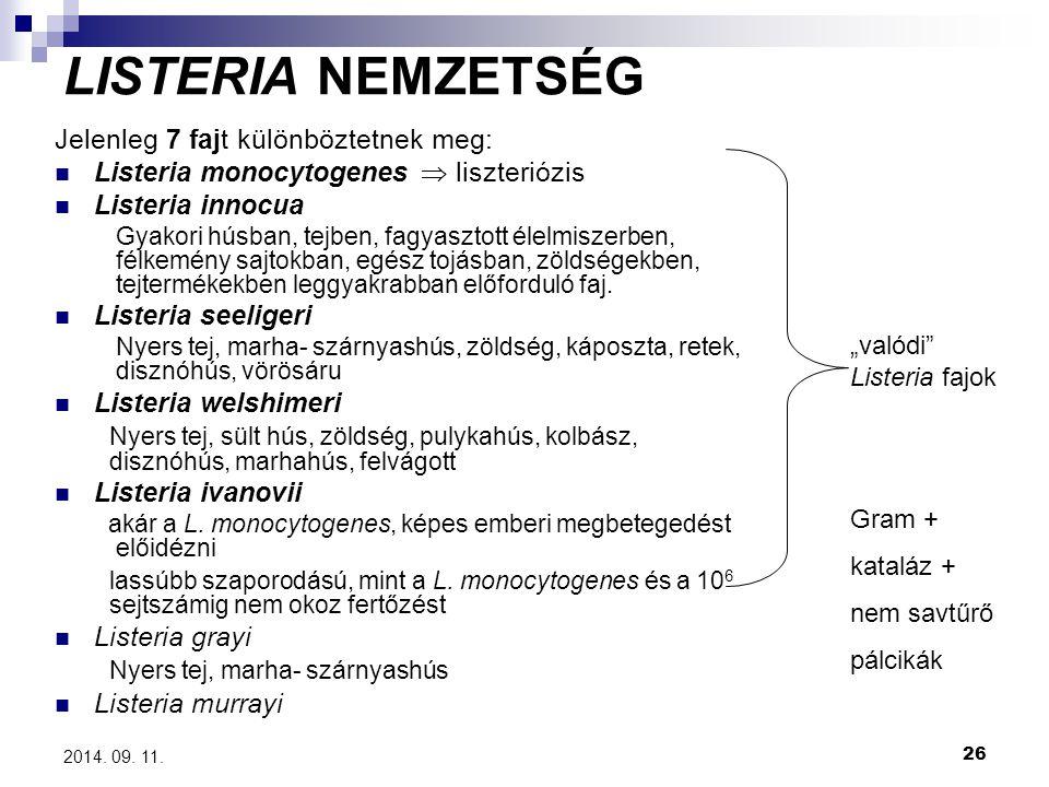 26 2014. 09. 11. LISTERIA NEMZETSÉG Jelenleg 7 fajt különböztetnek meg: Listeria monocytogenes  liszteriózis Listeria innocua Gyakori húsban, tejben,