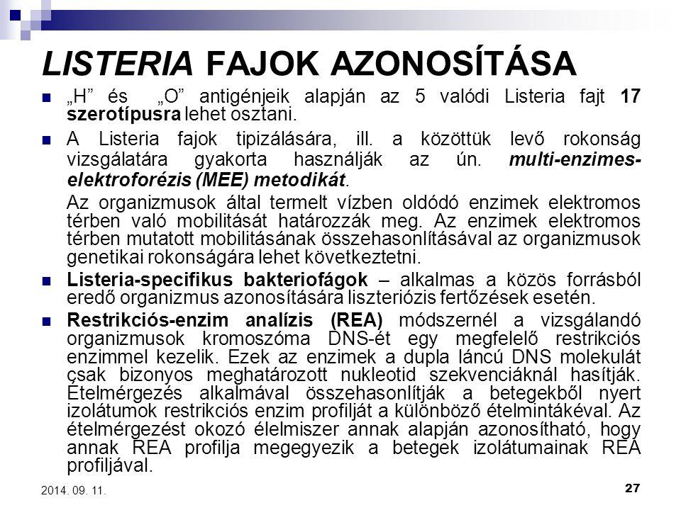 """27 2014. 09. 11. LISTERIA FAJOK AZONOSÍTÁSA """"H"""" és """"O"""" antigénjeik alapján az 5 valódi Listeria fajt 17 szerotípusra lehet osztani. A Listeria fajok t"""