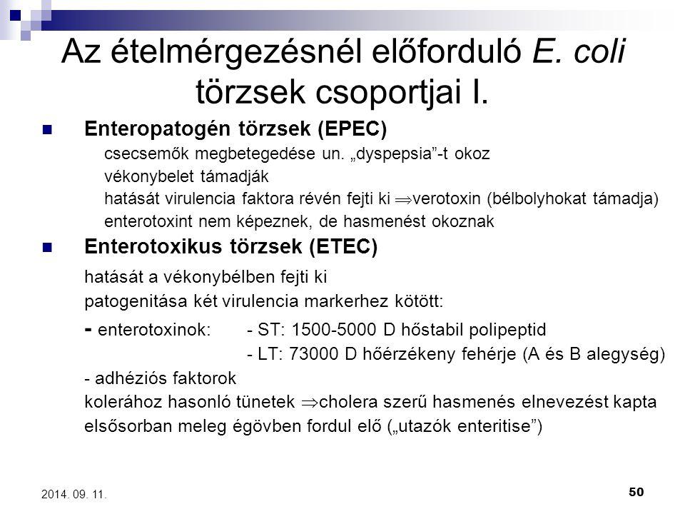 """50 2014. 09. 11. Az ételmérgezésnél előforduló E. coli törzsek csoportjai I. Enteropatogén törzsek (EPEC) csecsemők megbetegedése un. """"dyspepsia""""-t ok"""
