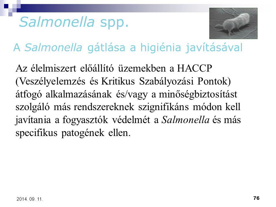 76 2014. 09. 11. Salmonella spp. A Salmonella gátlása a higiénia javításával Az élelmiszert előállító üzemekben a HACCP (Veszélyelemzés és Kritikus Sz