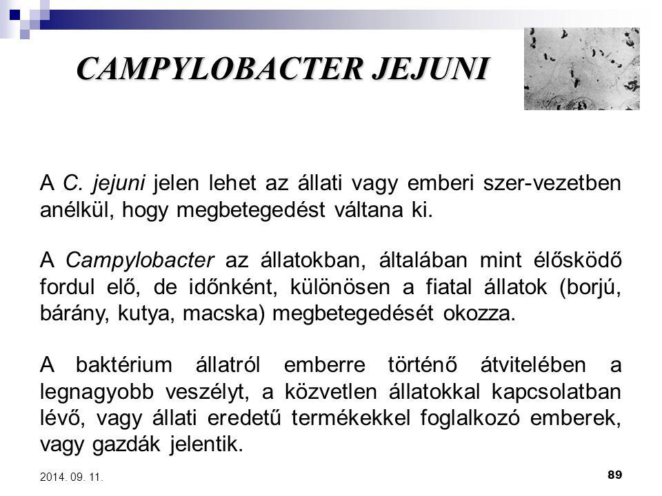 89 2014. 09. 11. CAMPYLOBACTER JEJUNI A C. jejuni jelen lehet az állati vagy emberi szer-vezetben anélkül, hogy megbetegedést váltana ki. A Campylobac