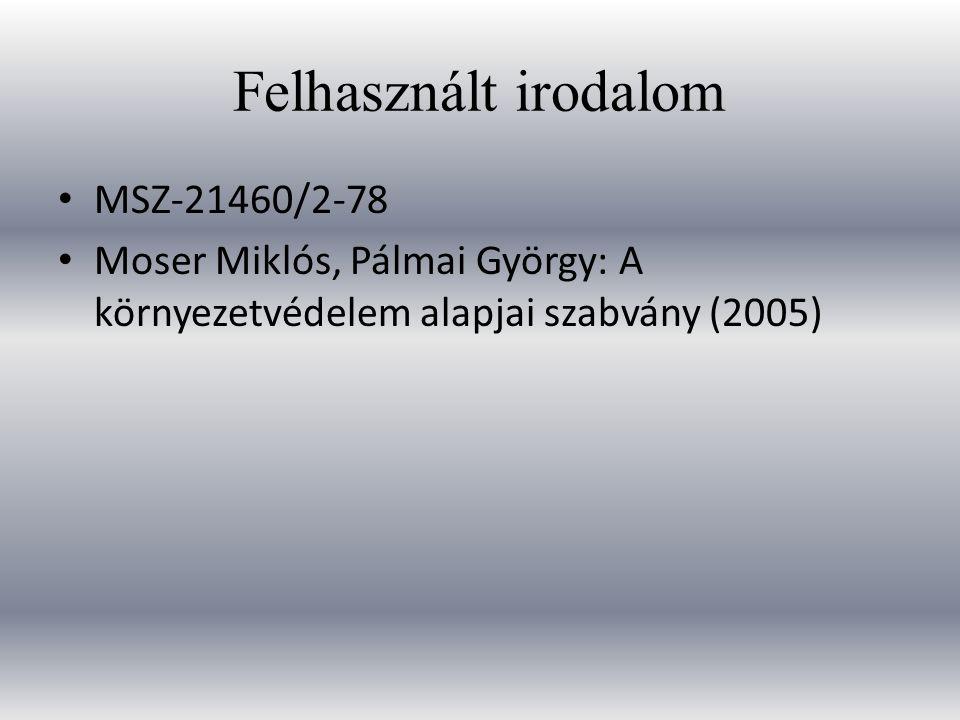 Felhasznált irodalom MSZ-21460/2-78 Moser Miklós, Pálmai György: A környezetvédelem alapjai szabvány (2005)