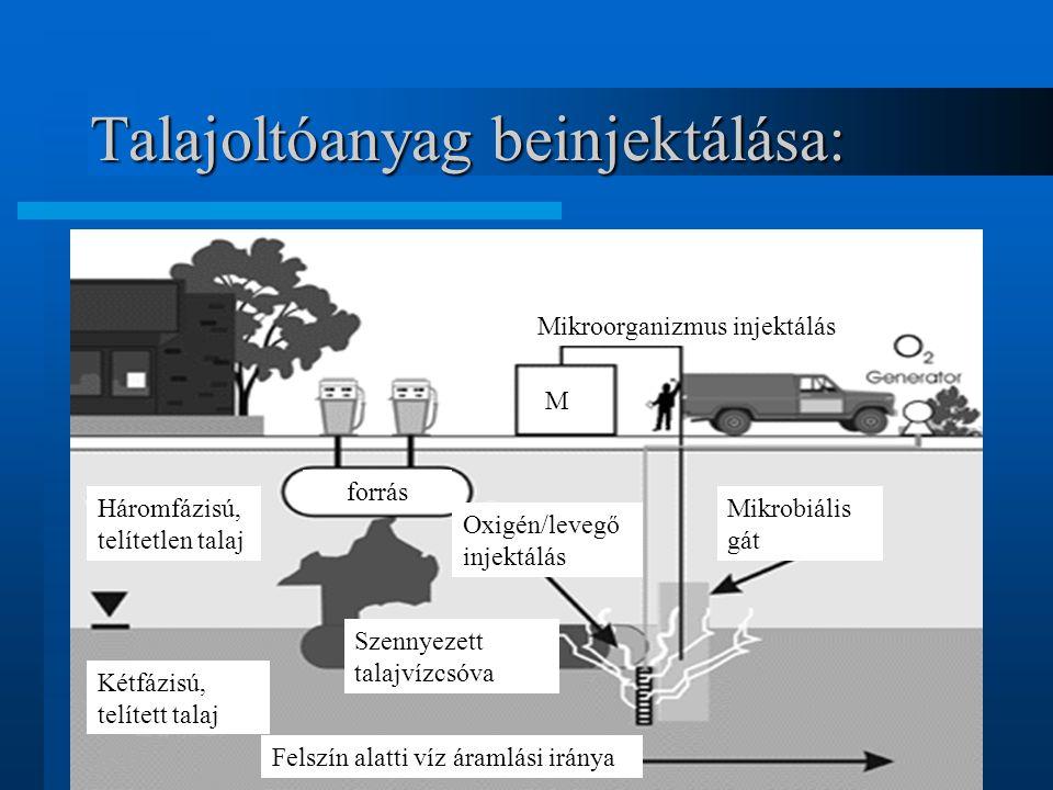 Talajoltóanyag beinjektálása: Háromfázisú, telítetlen talaj Kétfázisú, telített talaj Felszín alatti víz áramlási iránya forrás Szennyezett talajvízcs