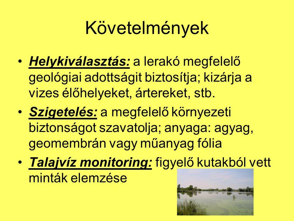 Követelmények Helykiválasztás: a lerakó megfelelő geológiai adottságit biztosítja; kizárja a vizes élőhelyeket, ártereket, stb.